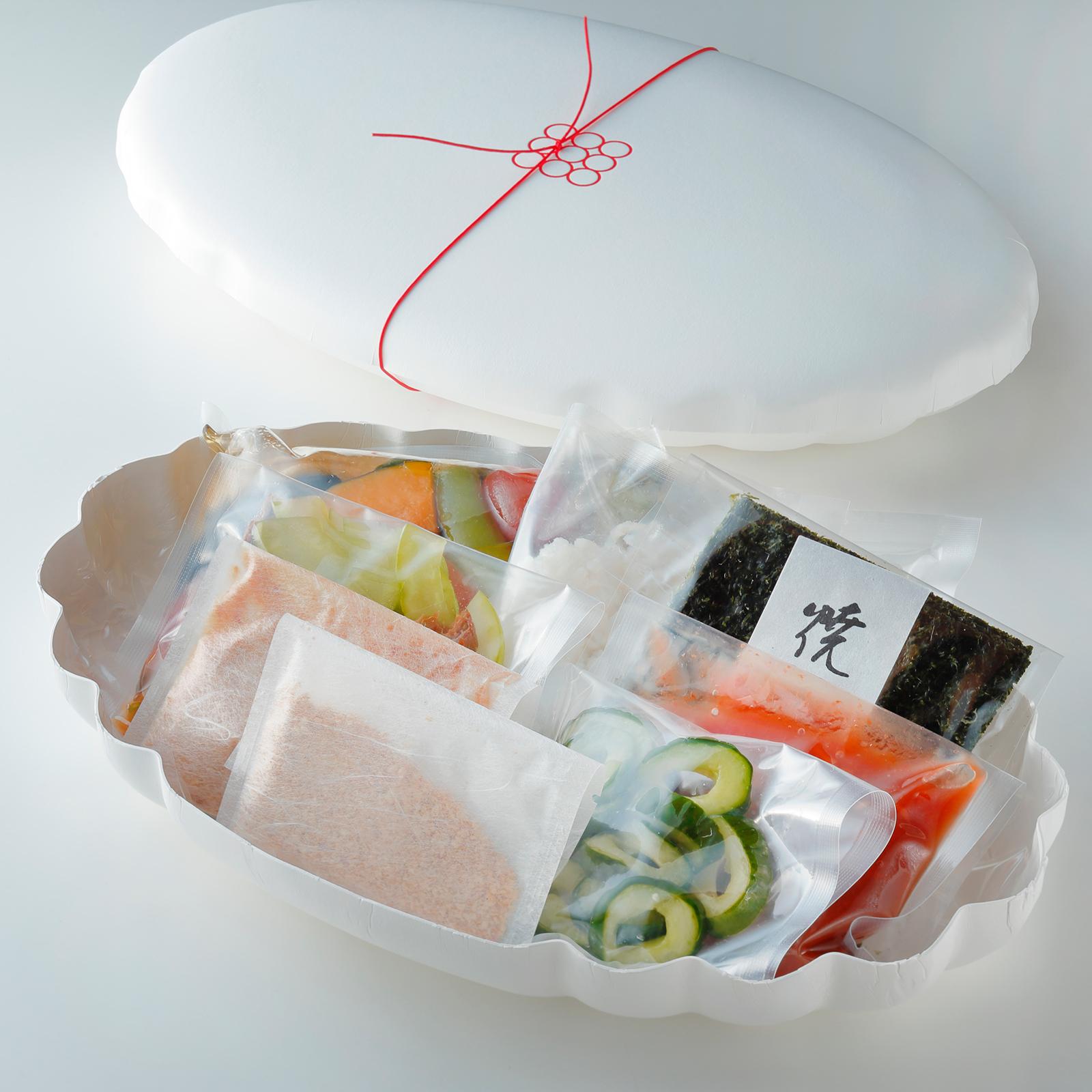 京のひめ苞 鱧の冷し麺と夏野菜ゼリー寄せ