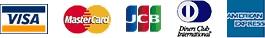 VISA/マスターカード/JCB/ダイナース/アメリカン・エキスプレスの5種類のクレジットカードをご利用いただけます。