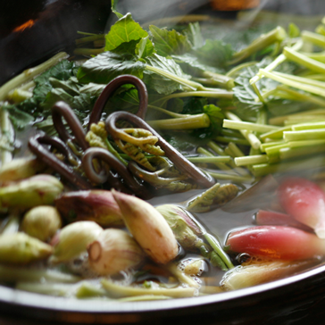 春のにがみ鍋