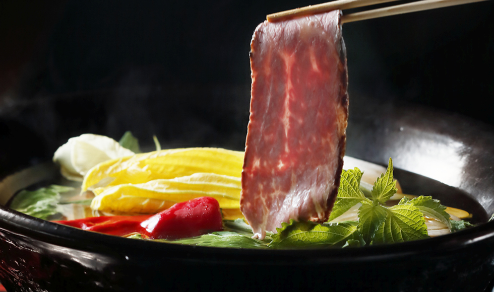 ローストビーフと温野菜鍋
